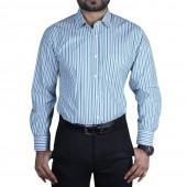 Cotton Lines Blue-Green Men's Formal Shirt
