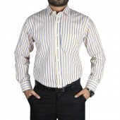 Men's Dress Cotton Shirt Yellow-Blue Lines