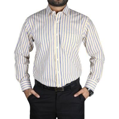 Men's Dress Cotton Shirt Yellow-Blue Lines