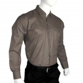 Men's Plain Dress Shirt - Dark Grey Color