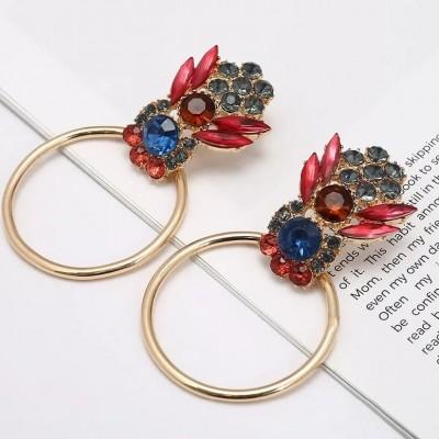 Statement rhinestone Circle Earrings