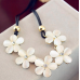 Women Fashion Crystal Flower Charm Choker Chunky Bib Chain Necklace