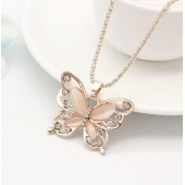 Lady Choker Rose Gold Butterfly Pendant Exquisite Necklace