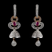Indian Fancy Earrings Red & Silver Antique Style