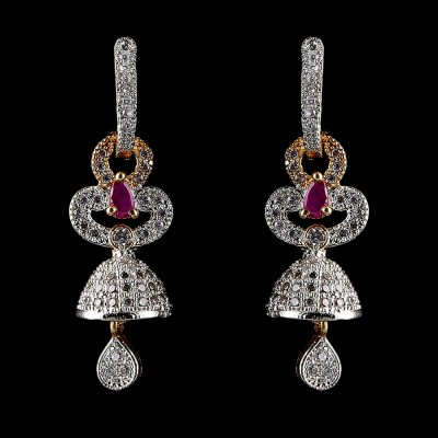 Indian Fancy Earrings Red & Silver Antique Style