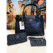 Coach 3pc Black Hand Bag For Women
