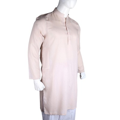 Basic Slim Fit Kurta - Beige Color For Men's