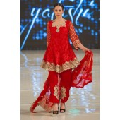 Chiffon And Silk Red Suit