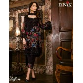 Iznik Chiffon Embroidery Suit Black