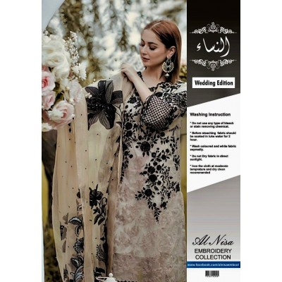 Al-Nisa Net Embroidered Suit With Hand Work Stone