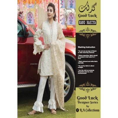 Rang Rasia Pure Chiffon White Color