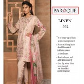 Baroque Linen Fabric Neck Embroidery Tea Pink
