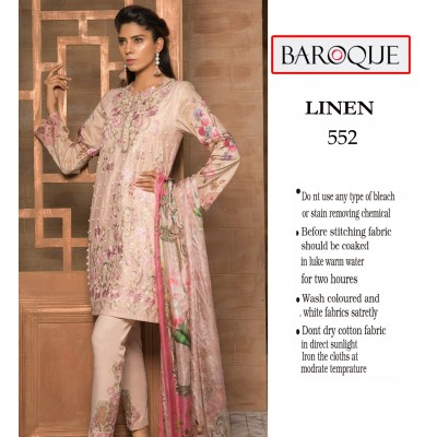 Baroque Linen Fabric Neck Embroidery Tea Pink