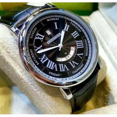 Cartier Luxury Gents Black Wrist Watch