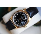 Rolex Day And Date Black Face Leather Belt Watch