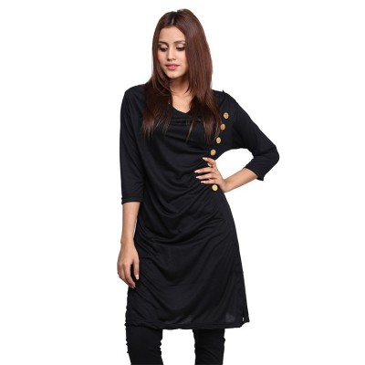 Gathers Style Kurti for Women in Black